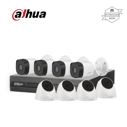 Dahua 2MP 8 Channel Camera Package 4 Bullet Camera + 4 Dome Camera