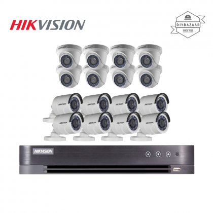 Hikvision 2MP 16 Channel Camera Package 8 Bullet Camera + 8 Dome Camera