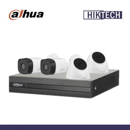 Dahua XVR1A04 4 Channel 2MP Camera Package 2 Bullet Camera + 2 Dome Camera