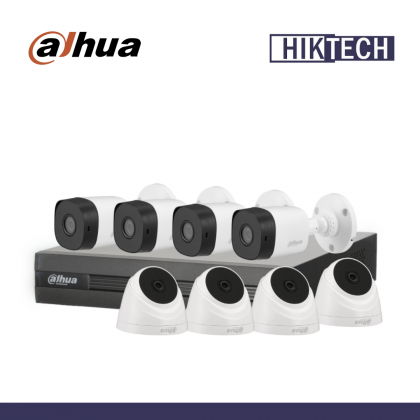 Dahua XVR1A08 8 Channel 2MP Camera Package 4 Bullet Camera + 4 Dome Camera