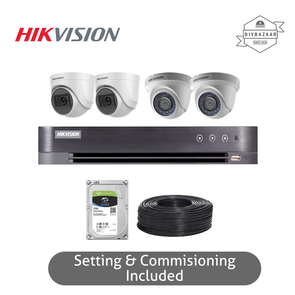 Hikvision 4CH 2MP Package with Installation