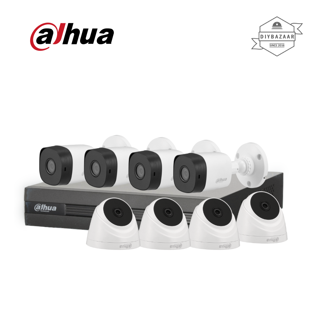 Dahua 5MP 8 Channel Camera Package 4 Bullet Camera + 4 Dome Camera